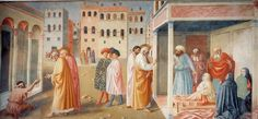 Healing of the Cripple and The Raising of Tabitha Masolino da Panicale - circa 1424 Santa Maria del Carmine - Florence Painting - fresco Fra Angelico, Renaissance Paintings, Renaissance Art, Tempera, Fresco, Medieval Life, Free Art Prints, Italian Painters, Mural Painting