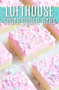 Lofthouse Sugar Cookie Bars - Something Swanky - - Super soft sugar cookies piled with vanilla buttercream frosting and lots of sprinkles! Tastes just like a Lofthouse Sugar cookie, and so easy to bake since they're in bar form. 13 Desserts, Delicious Desserts, Dessert Recipes, Pudding Desserts, Bar Recipes, Pink Desserts Easy, Bar Cookie Recipes, Cookie Desserts, Recipies