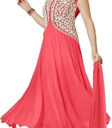 Pankhudi Pink Georgette Embroiderd Semi Stitched Salwar Suit Shop Online