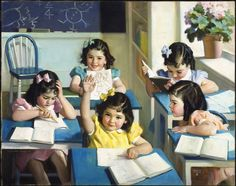 A painting of Canada's famous Dionne Quintuplets in a school classroom. Art by Andrew Loomis, 1938