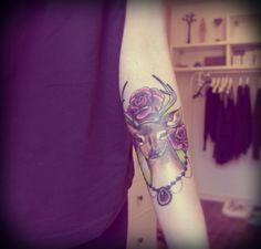 so pretty... deer & rose tattoo.