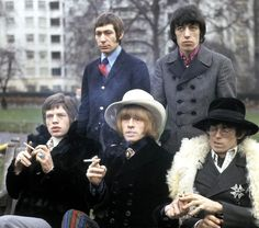 Green Park, London, January 11, 1967. The shapes and sights of things to come. The Stones emulate the San Francisco hippie fashions that swept the world during 1967.