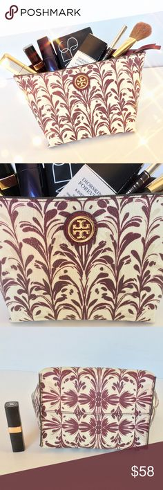 Tory Burch Kerrington Pouch in Symphony Tory Burch Kerrington Cosmetic pouch in the hard to find Symphony print. This little pouch holds a ton! PVC w/ leather  trim. In excellent condition. Interior shows normal usage. Exterior is flawless. 9x5x4.5 ( across top) 6 in across bottom. Lipstick used for size reference. Cream/ wine ..ABSOLUTELY NO OFFERS🚫MY LOWEST IS ALREADY LISTED 🚫BUY IT NOW OPTION ONLY 🚫I ONLY TRADE FOR CASH 💰 Tory Burch Bags Cosmetic Bags & Cases