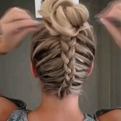 : Dutch Braid Messy Bun Updo Perfect for Short, Medium and L. Dutch Braid Messy Bun Updo – Perfect for Short, Medium and Long Hair Hi everyone! I wanted to share with you this super cute and easy dutch braid into a messy bun tutorial. Braided Bun Hairstyles, Elegant Hairstyles, Pretty Hairstyles, Easy Hairstyles, Casual Hairstyles, Hairstyle Ideas, Curly Hair Styles, Natural Hair Styles, Girls Long Hair Styles