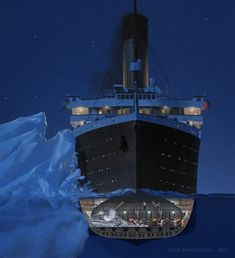 Titanic: The Art of Ken Marschall - Iceberg: In the late evening hours of April the Titanic strikes ice. Boiler Room No. 6 quickly begins to flood with water. Titanic Wreck, Titanic Sinking, Titanic Movie, Rms Titanic, Titanic Poster, Titanic Photos, Bateau Titanic, National Geographic Tv Shows, Shipwreck