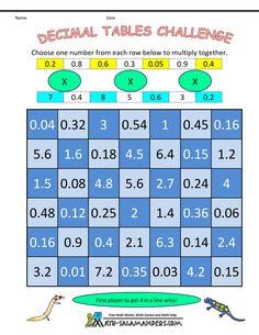 math multiplication games decimal tables challenge