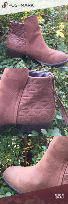 """""""Suede"""" ankle boots The right now trifecta:Faux suede, ankle boots and details. The texture and color is amazing. It has that """"worn look"""". Goes with everything color ( think lil skirt or go to jeans) beautiful quilting feature and pull zip. Low heel. Worn once but they are too big on me.  No flaws! Shoes Ankle Boots & Booties"""