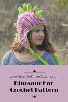 Dinosaur Hat Crochet Pattern www.GreenFoxFarmsDesigns.com (scheduled via http://www.tailwindapp.com?utm_source=pinterest&utm_medium=twpin)
