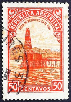 Argentina postage stamps | Postage stamp Argentina 1936 Oil Well, Petroleum — Stock Photo ...