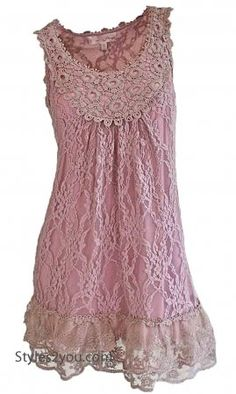Anita Antique Lace Tunic In Pink