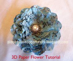 Pieces of Me Scrapbooking & Paper Crafts: 3D Paper Flower Tutorial