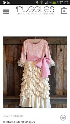 Ivory lace and ruffles with pink. Little Girl Outfits, Little Girl Fashion, Kids Outfits, Kids Fashion, Cute Outfits, Modest Clothing, Modest Outfits, Modest Fashion, Layered Dresses