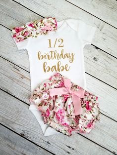 6 Month Birthday Outfit Girls Half Birthday Pink And Gold Outfit - Adassa Rose Happy Half Birthday, Gold First Birthday Outfit, Baby Girl Birthday Outfit, Girl Birthday Themes, Birthday Ideas, 6 Month Baby Picture Ideas, Baby Girl Pictures, Take Home Outfit, Coming Home Outfit