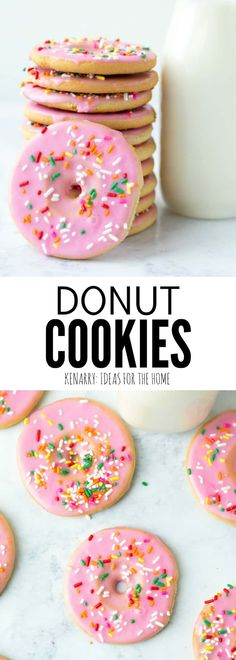 Create a fun dessert with the kids using this easy recipe for frosted cut out Donut Cookies made from sugar cookie dough. Decorated with sprinkles, these cookies are a great party treat! Mini Desserts, Chocolate Desserts, Easy Desserts, Potluck Desserts, Cooking With Kids Easy, Baking With Kids, Graham Cracker Dessert, Cookie Recipes, Dessert Recipes