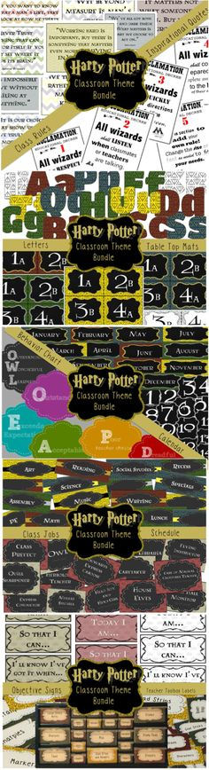 Harry potter classroom pack. Look at all these cool things!!