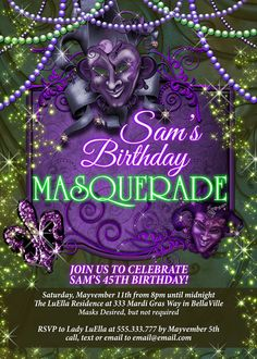 Mardi Gras Party Masquerade Party by MIKEINVITATION2015 on Etsy
