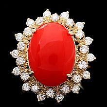 14k Yellow Gold 5.50ct Coral 0.90ct Diamond Ring