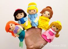 Disney Princess Felt Finger Puppets Also have pooh (which look easier) Costs 5 dollars but if I learned to sew better, I could invest on it