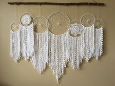 Dreamcatcher Wall Hanging Collection • Set of 7 Dreamcatchers • White Dreamcatchers • Bohemian Wedding Backdrop • Boho Decor • Dorm Decor by driftwoodanddreamers on Etsy