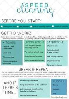 Speed Cleaning Checklist - FREE Printable - House cleaning tips - Diy Cleaning Products, Cleaning Solutions, Cleaning Hacks, Diy Hacks, Cleaning Routines, Room Cleaning Tips, Apartment Cleaning, Daily Cleaning Schedules, Spring Cleaning Tips