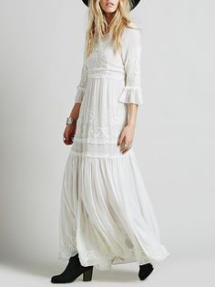 a0ffb72bec White Bell Sleeve Embroidered Maxi Dress -SheIn(abaday) White Maxi Dresses