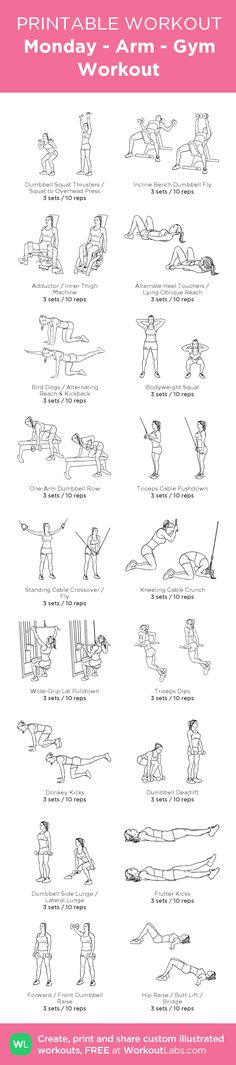 Monday - Arm - Gym Workout:my visual workout created at WorkoutLabs.com • Click through to customize and download as a FREE PDF! #customworkout
