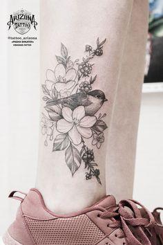 Flower tattoo on leg blackwork by Pavel Shkatov Aa Tattoos, Anklet Tattoos, Great Tattoos, Girl Tattoos, Tattoos For Women, Robin Tattoo, Finger Tats, Delicate Tattoo, Tattoo Photos