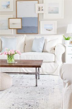 A Navy Blue Vintage Wash Rug Adds Subtle Color And Pattern To This Neutral Modern Farmhouse Living Room