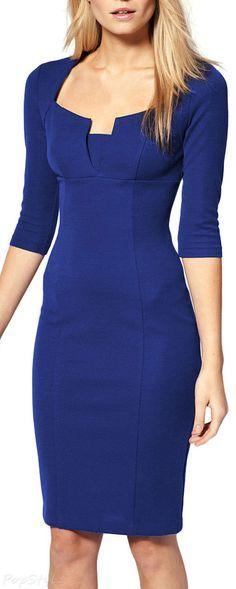 MIUSOL Business Tunic 3/4 Sleeve Bodycon Pencil Dress