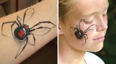 spider makeup / Arm and face painting tutorial for Halloween Spider Face Painting, Face Painting For Boys, Body Painting, Lion Makeup, Skull Makeup, 1920 Makeup, Face Painting Tutorials, Face Painting Designs, Halloween Eyes