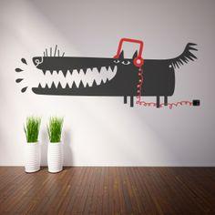 Vinilo decorativo con imagen de un perro urban style con casco. Masquevinilo.com