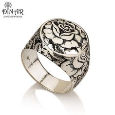silver+Signet+Ring+Rose+flower+A+sterling+silver++by+DINARjewelry,+$138.00