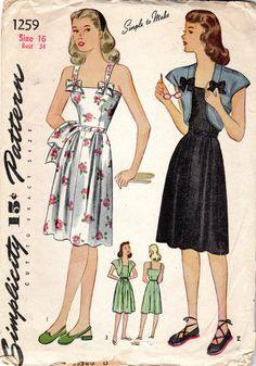 Misses' Sundress & Bolero Jacket Pattern Vintage Dress Patterns, Clothing Patterns, Vintage Dresses, 1940s Fashion, Vintage Fashion, Moda Vintage, Bolero Jacket, Jacket Pattern, Historical Clothing
