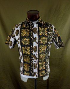 Vintage Brown Ui-Maikai Tribal Tiki Print Hawaiian Shirt – 46 Chest - VLV #UiMaikai #Hawaiian #VLV