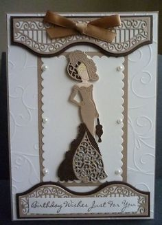 Card made using the Style and Elegance lady die with the Tonic Window Box dies