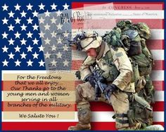 We Salute & Give Thanks to our Brave Military Men & Women who keep us ALL Safe!!!