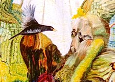 "Mette Svarre libretto & illustrations: ""The King Oak get news from the bird"". From Metamorphosis of the Mermaid"