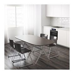 IKEA - OPPEBY, Table, Oppmanna gray, , The clear-lacquered surface is easy to wipe clean.The table top has pre-drilled holes for the underframe which makes assembly easy.