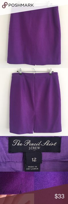 🆕 J. Crew Factory Double Serge Wool Pencil Skirt A gorgeous purple pencil skirt featuring back zip & back vent.  A chic statement piece perfect for work 💜  Stats (laying flat): Length: approx. 21.5"