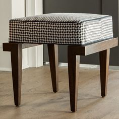 SPENCER- a stool of warm walnut and cotton fabric, made in North Carolina. The perfect spot for tying your shoes or conversation with a friend.