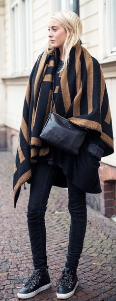 Camel And Black Oversize Scarf