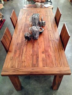 Gentil A Very Solid 7 Foot Long X 3 Foot Wide Dining Table With Four 4 Legs Made  From Salvaged / Reclaimed Old Growth Teak Wood From Railroad Ties, Trestle  Bridge ...