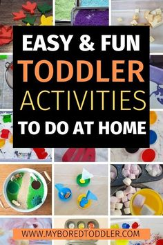 TODDLER ACTIVITY IDEAS TO DO AT HOME Easy and Fun Toddler Activities to do at home - toddler ideas, toddler crafts, toddler sensory play - lots of easy activities for 1 year olds, 2 year olds and 3 year olds Activities For 1 Year Olds, Fun Activities For Toddlers, Infant Activities, Preschool Activities, Time Activities, Educational Activities, Family Activities, Easy Toddler Crafts, Toddler Fun