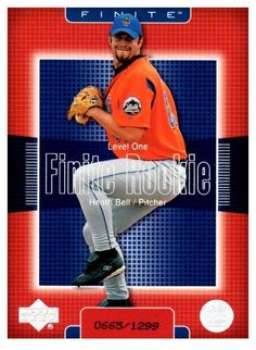 2003 Upper Deck Finite Heath Bell Rookie Card New York Mets #D/1299 #NewYorkMets