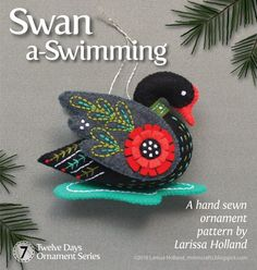 Swan a-Swimming PDF pattern for a hand sewn wool felt by mmmcrafts