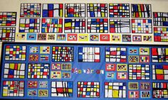 """Bignold Primary School's Mondrian project (Year 2).  """"If your children enjoy working in the style of Mondrian as much as they did, then everyone is in for a fun time!"""""""