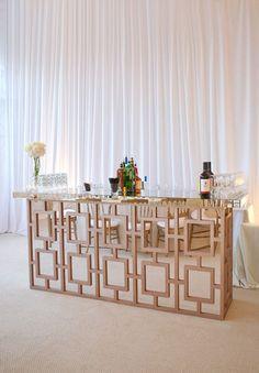 Mirrored bar at wedding reception
