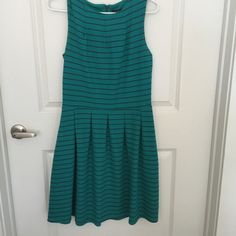 Striped fit and flare dress Turq and dark gray striped dress size medium. Mossimo Supply Co. Dresses Mini
