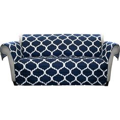Lush Decor Lambert Sofa Furniture Protector Slipcover Navy Sofa