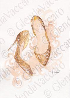 Gold Glitter Heels di GlendaRoom su Etsy